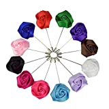Weishang Men's Lapel Pin Flower Handmade Boutonniere for Suit (Pack of 12) (Style 1)
