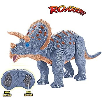 Animals & Dinosaurs Kids Walking Dinosaur Triceratops 14.5 Inches Remote Control With Shaking Head