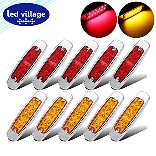 """10 pcs LedVillage 6.4"""" Inch Fish Shape Surface Mount Amber (5) + Red (5) Extra Thin LED 12 SMD Side Maker Light Clearance Lamp Tow Truck Peterbilt Style Trailer Off-road RV Flatbed Chrome Bezel 24V DC"""