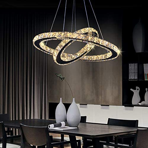 LED Chandelier, Contemporary Chandeliers Crystal Ceiling Pendant Light 2 Rings Adjustable Stainless Steel Chandelier Modern Crystal LED Ceiling Light Fixture 2r Warm White
