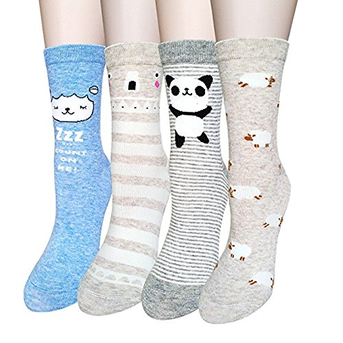 4-5-Pairs-Womens-Cute-Animal-Socks-Fun-and-Cool-100-Cotton-Art-Socks-for-Women