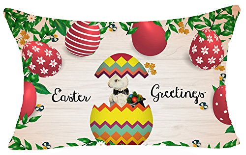 Best Gift Spring Season's Greetings Happy Easter Color Eggs Bunny Rabbit Eggshell Magic Hat Cotton Linen Throw Lumbar Waist Pillow Case Cushion Cover Home Office Decorative Rectangle 12X20 Inches - 12' Accent Pillow