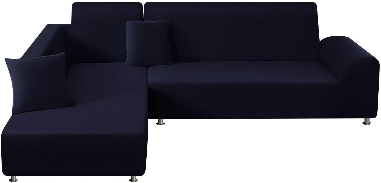 TAOCOCO Sectional Couch Covers 2pcs L-Shaped Sofa Covers Softness Furniture Slipcovers with 2pcs Pillowcases L-Type Polyester Fabric Stretch Sofa Covers 3 Seats +3 Seats (Dark Blue)