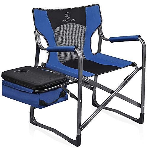 ALPHA CAMP Directors Chair Oversize Support 300 lbs Folding Portable Camping Chair Lightweight for Outdoor Breathable Mesh Back with Cooler Bag