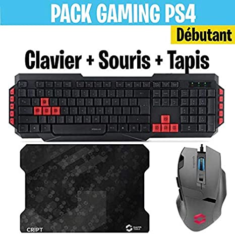 Pack Clavier Souris Gamer LEVEL 2 compatible PS4, PS3 et