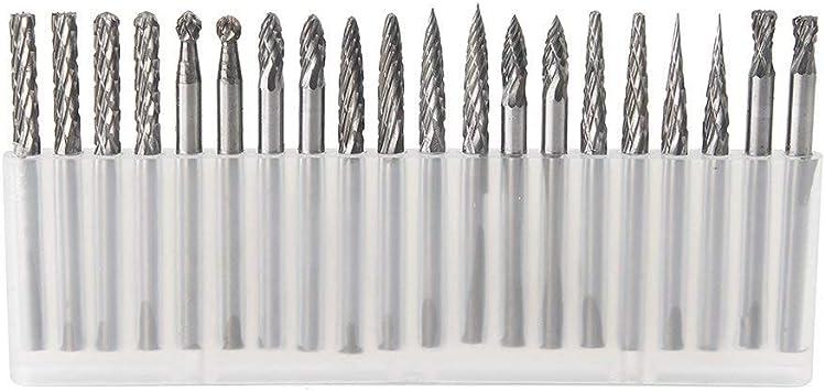 Shank Tungsten Carbide Milling Burrs Rotary 3mm 20pcs Carbide Burr Set 1//8''