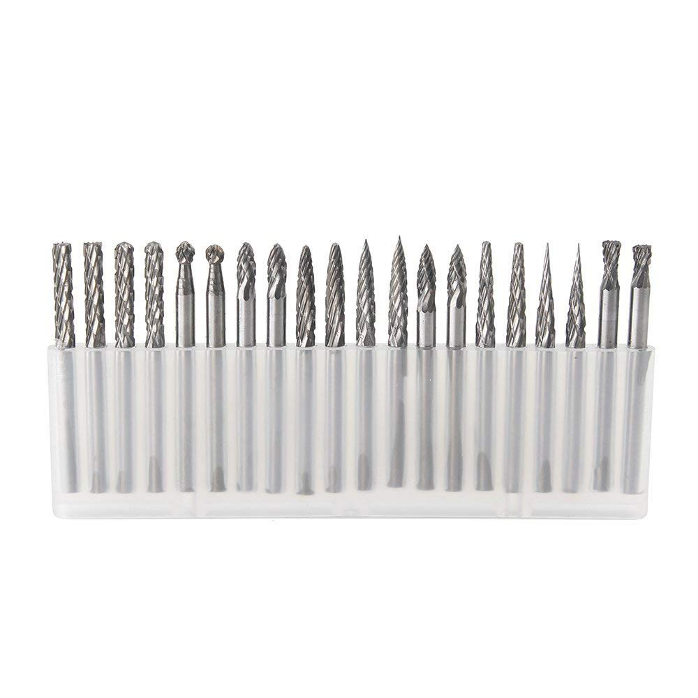YUFUTOL 20pcs Solid Carbide Burr Set 0.118''(3mm)shank Tungsten Carbide Rotary Files Burrs with 3mm Cutting Head diameter Fits Most Rotary Drill Die Grinder for Woodworking,Engraving,Drilling,Carving