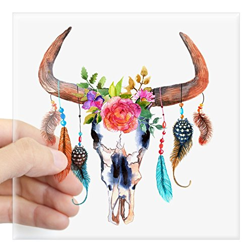 CafePress Colorful Bull Horns & Skull Flowers & Feathers Square Bumper Sticker Car Decal, 3