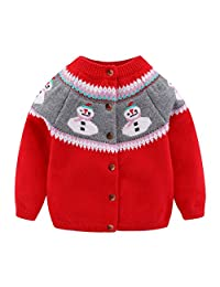 Mud Kingdom Little Girls Cardigan Sweater Cute Snowman Christmas Red