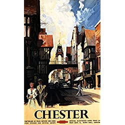 Chester, England - Street View with Couple and Tower Clock Rail - Vintage Travel Poster (12x18 Art Print, Wall Decor Travel Poster)