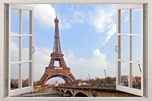 3D Depth Illusion Vinyl Wall Decal Sticker , Window Frame Style Home Decor Art Removable Wall Sticker Mural Poster Pictures, 85 X 115 CM Eiffel Tower Paris France Urban City Scape View
