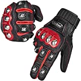 ILM Alloy Steel Leather Hard Knuckle Touchscreen Motorcycle Bicycle Motorbike Powersports Racing Gloves (M - (LEATHER) RED)