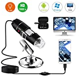 USB Digital Microscope 40X to 1000X, Bysameyee 8 LED Magnification Endoscope Camera with Carrying Case & Metal Stand,...