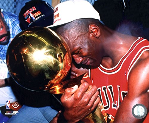 Michael Jordan Game 5 of The 1991 NBA Finals with Championship Trophy Art Print, 10 x 8 inches