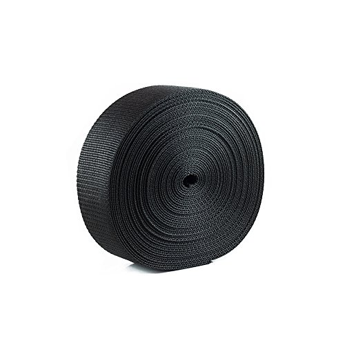 Canvas Heavyweight Belt - Houseables Webbing Strap, Polypro, Polypropylene Heavy Flat Strapping, 2 Inch W x 25 Yards (Two 12.5 Yard Rolls), Black, UV Resistant Fabric, Waterproof for Bags, Canoe Seat, Furniture, Slings