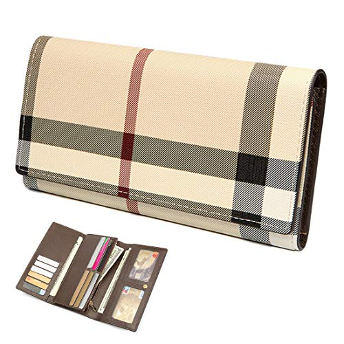 Wallets for Women Leather Trifold Clutch Checkbook Purse RFID Blocking with Credit Card Holder Organizer (Beige)