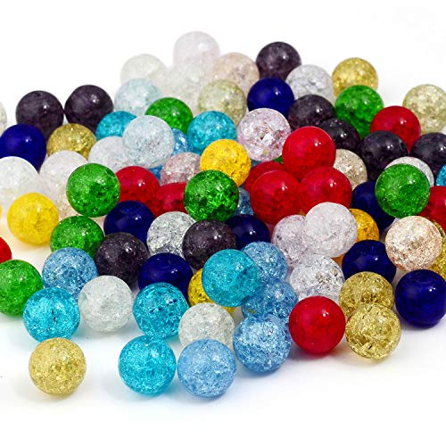 RUBYCA Assorted Round Frosted Crackle Glass Loose Beads Druk Czech Crystal Mixed Color 4mm 100pcs