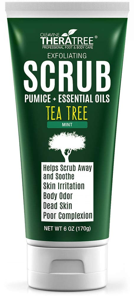 Tea Tree Oil Exfoliating Scrub with Bamboo Charcoal, Neem Oil & Natural Pumice by Oleavine TheraTree by Oleavine