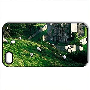 clifden castle ireland - Case Cover for iPhone 4 and 4s (Medieval Series, Watercolor style, Black) by icecream design