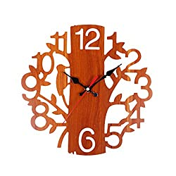 CZYCO Tree Shaped Hollow Wooden Wall Clock Decorative Clock Numerals Quartz Clock