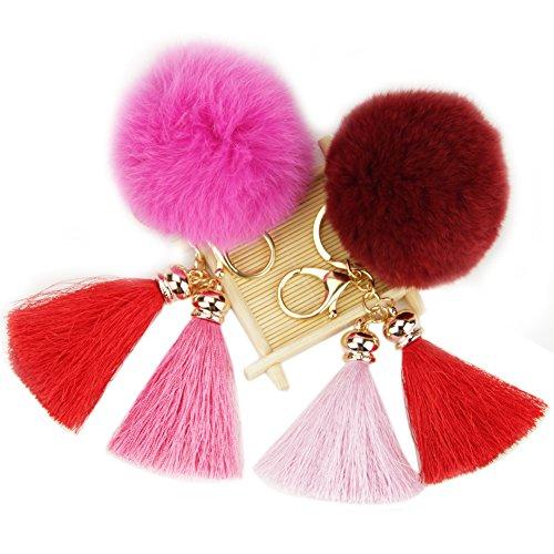 Roniky 2pcs Fur Pom Pom Tassel Keychain Real Rabbit Fur Ball Charm for Bag