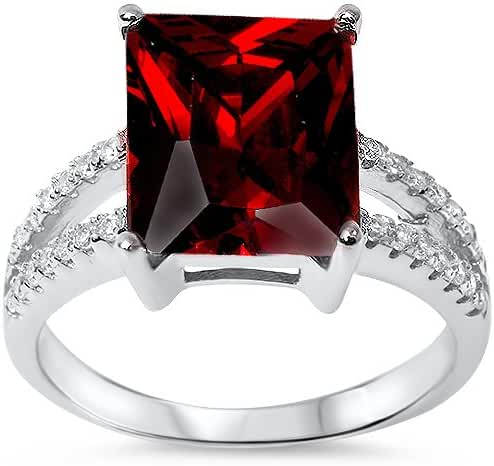 Radiant Cut Simulated Garnet & Cz .925 Sterling Silver Ring Sizes 5-10