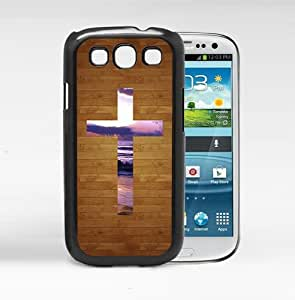 Brown Wood Pattern Background with Purple Sky Sunset Holy Cross in Center Hard Snap on Cell Phone Case Cover Samsung Galaxy S3 I9300