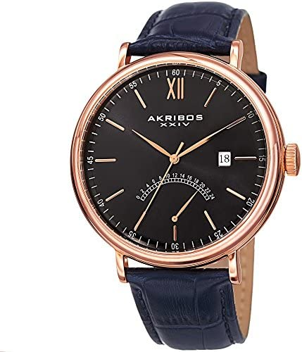 Akribos XXIV Men s AK845 Retrograde Stainless Steel Leather Strap Watch – Radiant Sunburst Dial Military Time
