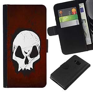 All Phone Most Case / Oferta Especial Cáscara Funda de cuero Monedero Cubierta de proteccion Caso / Wallet Case for HTC One M9 // Goth Skull Red