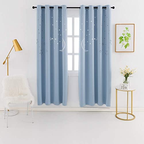 MANGATA CASA Kids Star Blackout Curtains Grommet Thermal 2 Panels for Bed Room,Cutout Galaxy Window Curtain Darkening Drapes for Nursery Living Room Baby Blue 52x84in