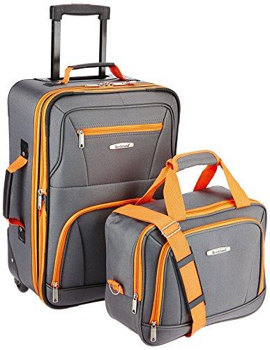 Rockland Luggage 2 Piece Set, Charcoal, One Size (Wheels Carry On Kids With Luggage)