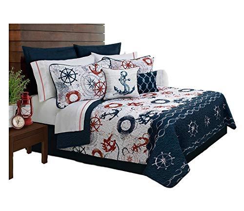 Bedding Discount Quilts (sazana Bay Harbour Quilt Bedding 5 Piece/Bedspread Set, Queen, Ocean Blue)