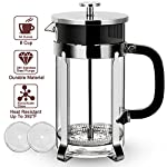 Eminent French Press - 304 Stainless Steel French Press, 1L 34oz Coffee Press FDA Approved. Food Grade Frame & Lid, German Glass, Press Coffee Maker Tea Press with Professional Grade Screen Heatable made by VIVREAL HOME