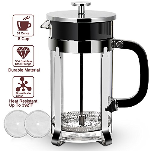 Eminent French Press - 304 Stainless Steel French Press, 1L 34oz Coffee Press FDA Approved. Food Grade Frame & Lid, German Glass, Press Coffee Maker Tea Press with Professional Grade Screen Heatable