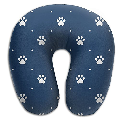 Animal Pattern Of Paw Footprint U Neck Travel Pillow Treatment Pain Train Neck Pillow ()