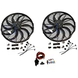 "2 Sets of 16"" Electric Curved ""S"" Blade Reversible Cooling Fan 12v 3000cfm & Heavy Duty Thermostat Kit"