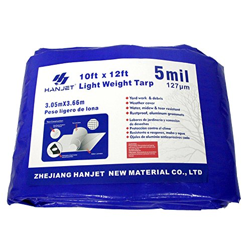 Multi Purpose Waterproof Tarp Hanjet 10 x 12 Feet 5 Mil Thick Material, Waterproof, Great for Tarpaulin Canopy Tent, Boat, RV or Pool Cover Blue by Hanjet