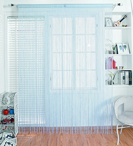 Taiyuhomes Beaded String Curtains with Pearl Beads Dense Fringe Beaded Door Tassel Curtains (39x79,Blue) (Treatments Window Bead)