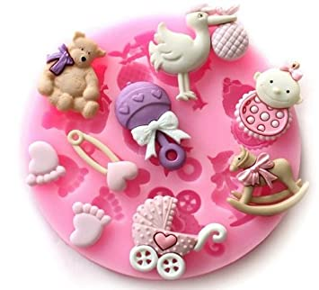 Allforhome(TM) Sugarcraft Cute Baby shower Baby Feet Fondant and Gum Paste Silicone Resin