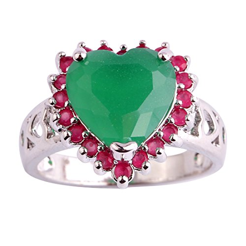 Narica Womens Brilliant Heart Shaped Emerald Engagement Cocktail Ring ()