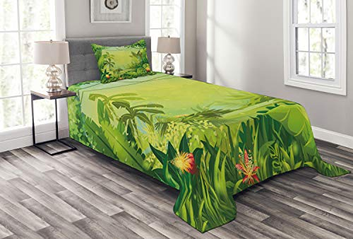 Lunarable Nature Bedspread Set Twin Size, Jungle Red Flowers Large Tropical Plants Foliage Woodland Fern Illustration, Decorative Quilted 2 Piece Coverlet Set Pillow Sham, Lime Green ()