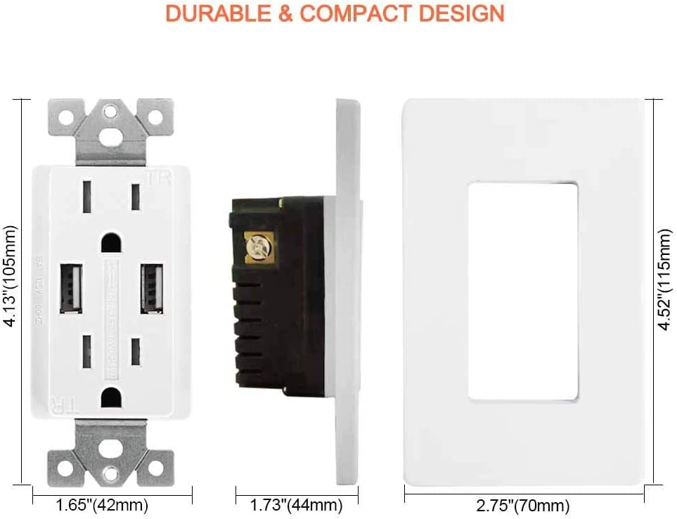 UL-listed Electrical Outlet with Dual USB Ports GUKIBO 6 Pack USB Outlet Receptacle High-Speed 4.2A USB Charger Outlet 15A Tamper-Resistant Duplex Receptacle with 2 Wall Plates /& USB Cable