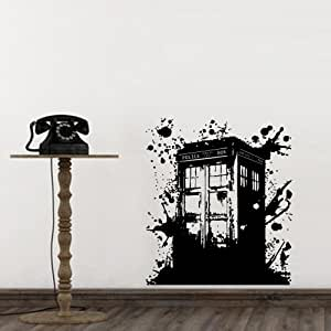 wall decal doctor who tardis mural sticker decor art police box gift dorm bedroom. Black Bedroom Furniture Sets. Home Design Ideas