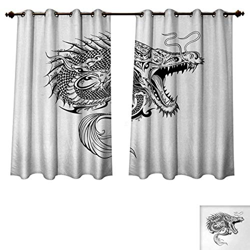 (Anzhouqux Japanese Dragon Blackout Thermal Backed Curtains for Living Room Doodle Sketch Artwork Style Detailed Roaring Dragon with Scales and Tail Customized Curtains Black White W63 x L45 inch)