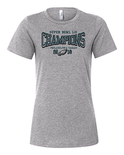 2018 Super Bowl Lii 52 Champions Eagles Women's Bella Canvas Relaxed T-Shirt Football Tee New – Athletic Heather Grey