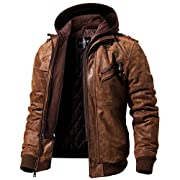 FLAVOR Men Brown Leather Motorcycle Jacket with Removable Hood …