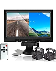 HD 1080P Backup Camera System with Monitor Kit, AHD Reverse Camera with 7 inch DVR Dual Split Screen Monitor , IP69 Waterproof Rear View Camera Night Vision Reverse Camera SD Card for Trucks Pick Up Heavy Box RV Camper Bus 12V-36V