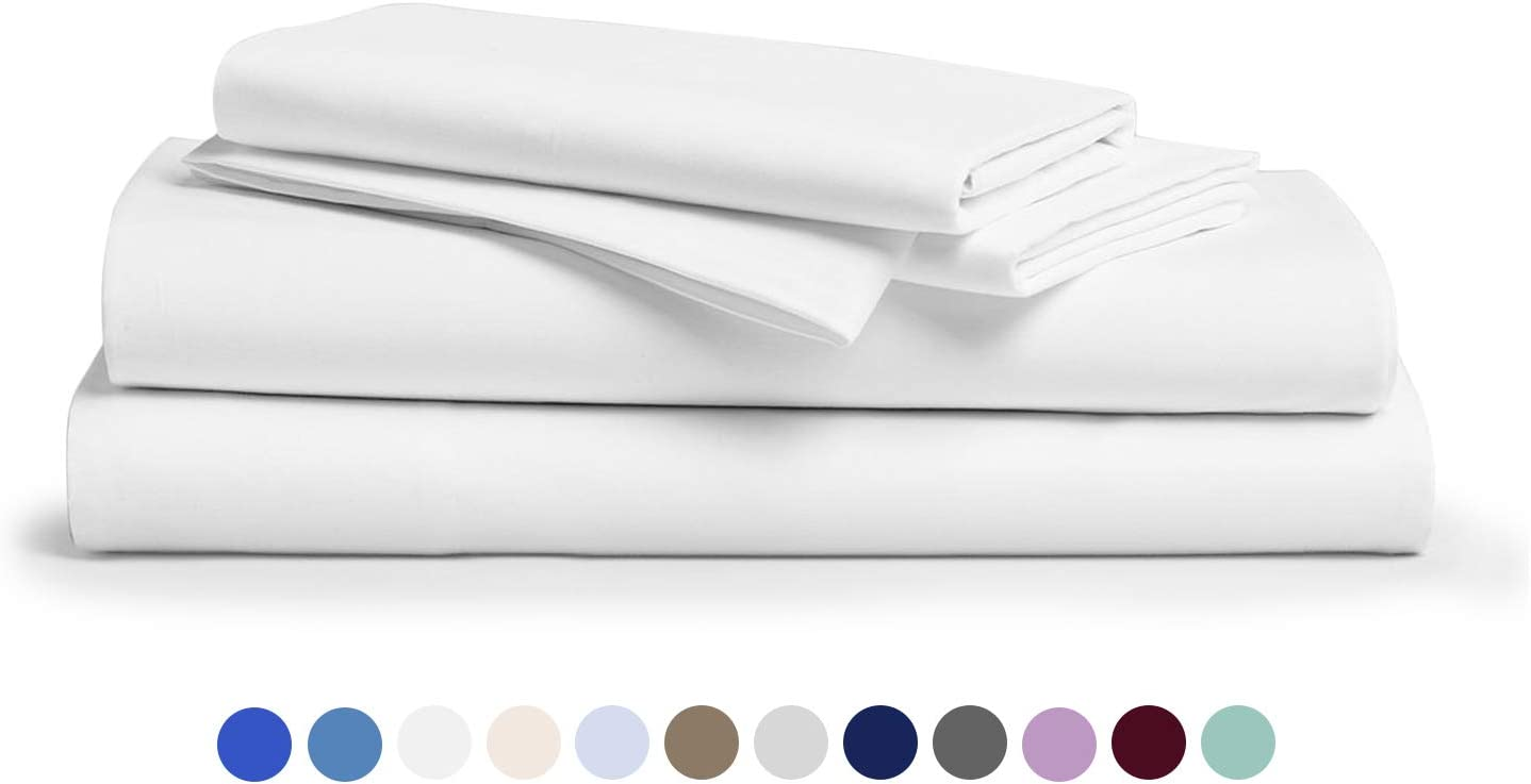 600 Thread Count 100% Cotton Sheet White Queen Sheets Set, 4-Piece Long-Staple Combed Pure Cotton Best Sheets for Bed, Breathable, Soft & Silky Sateen Weave Fits Mattress Upto 18'' Deep Pocket