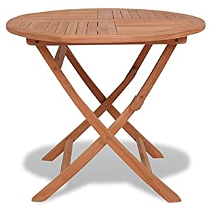 vidaXL Round Garden Teak Wood Wooden Folding Picnic Drinks Dining Table Patio