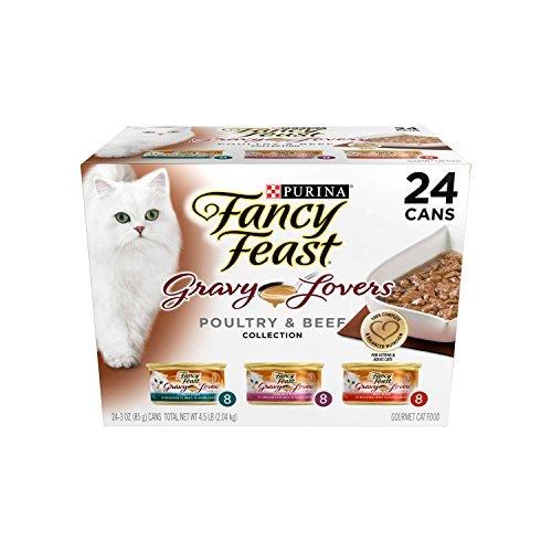 Purina Fancy Feast Gravy Lovers (Poultry & Beef Feast Variety) - Wet Cat Food - 3oz cans/24pk (Gravy Lovers - Poultry and Beef Variety Pack, Pack of 1)